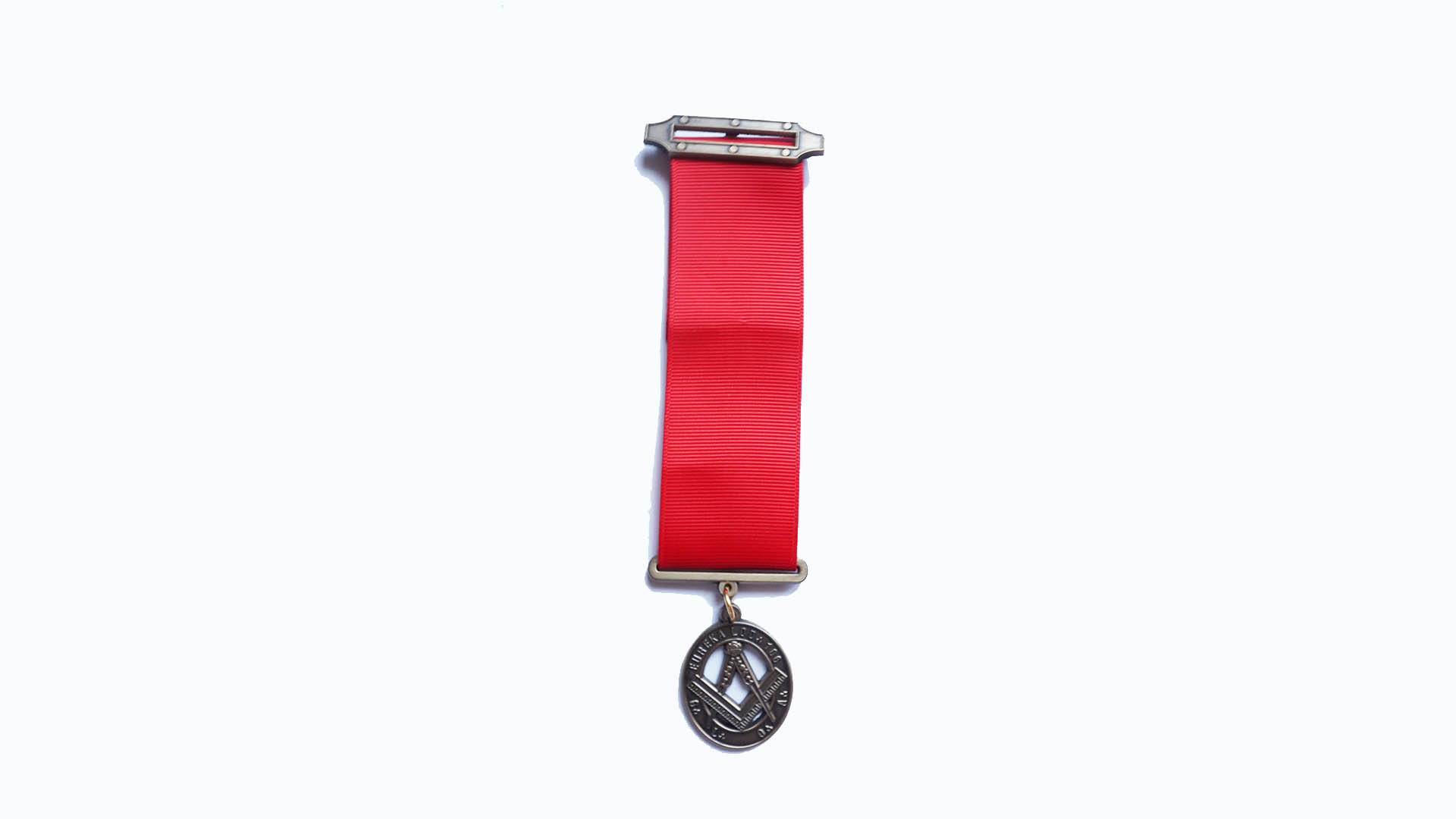 silver medal with red band