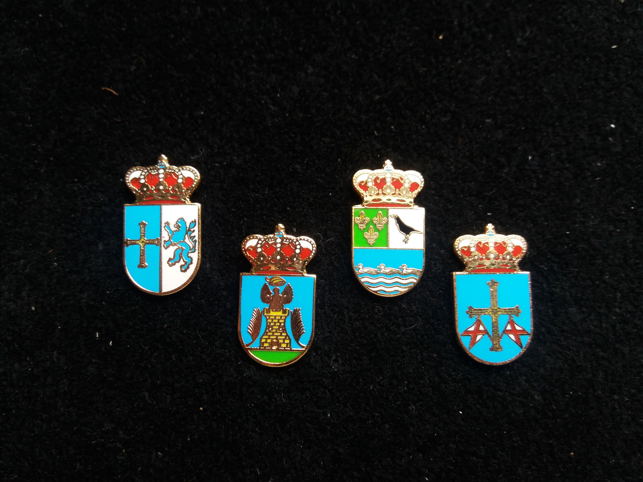 Cangas del Narcea, Castropol, Colunga and Gozón heraldic pins