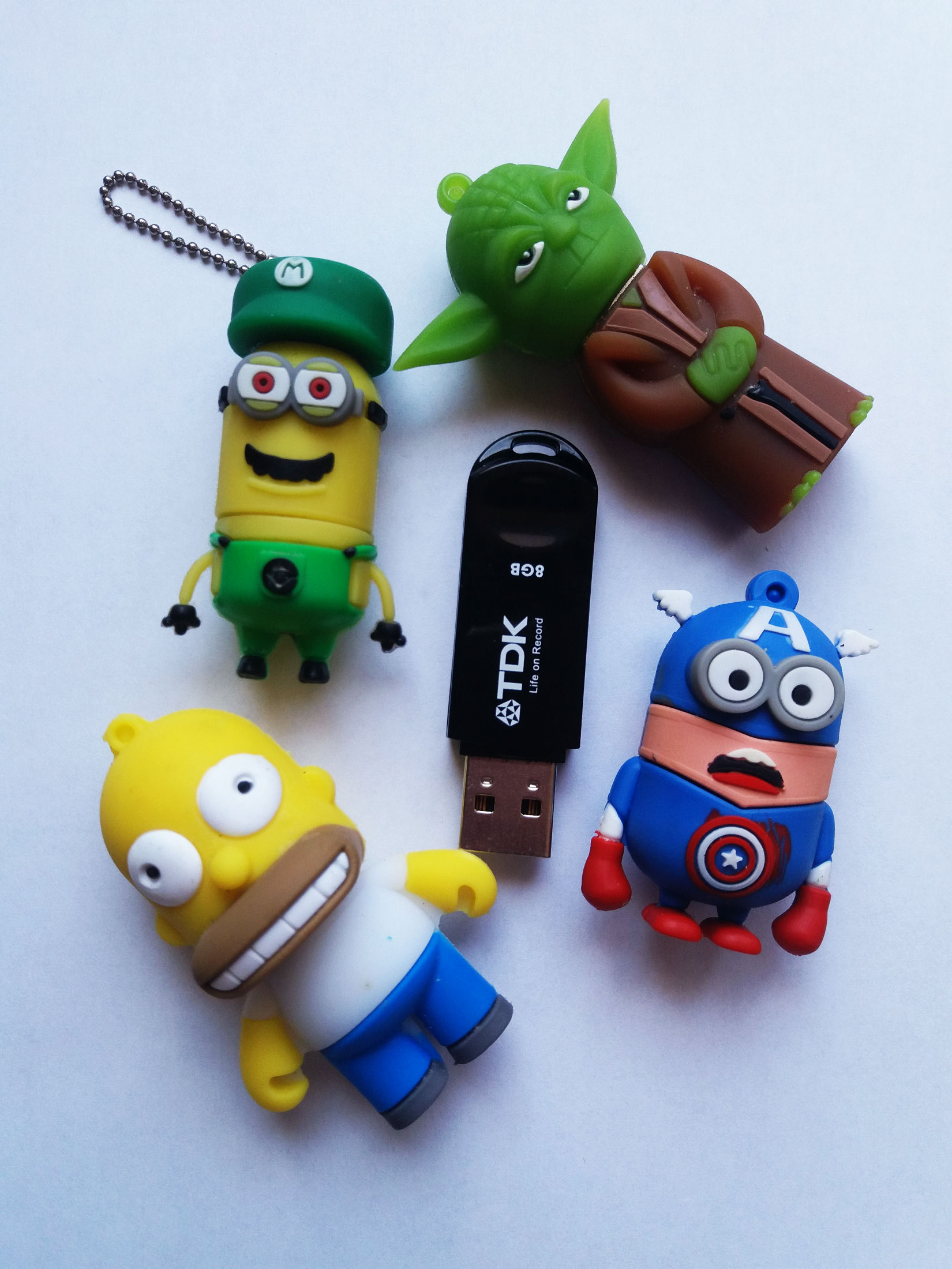 custom usbs: minion, homer simpson, yoda and captain america